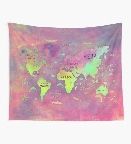 world map 50 pink Wall Tapestry