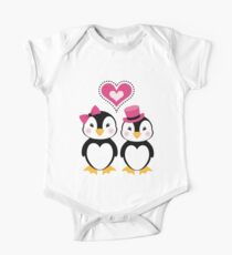 Valentine Penguins One Piece - Short Sleeve