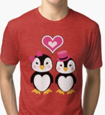 Valentine Penguins Tri-blend T-Shirt