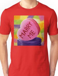 Marry Me Candy Hearts Heart Colorful Candies Valentines Day Sweetheart Love Lover Girlfriend Wife Fun Happy Unisex T-Shirt