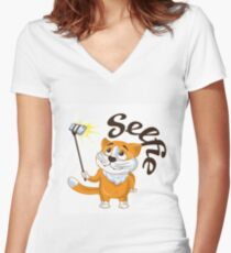 Cartoon cat taking a selfie on a monopod.  Women's Fitted V-Neck T-Shirt