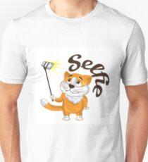 Cartoon cat taking a selfie on a monopod.  T-Shirt
