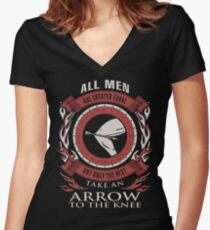 ONLY THE BEST TAKE AN ARROW TO THE KNEE Women's Fitted V-Neck T-Shirt
