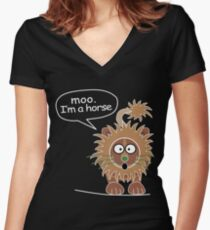 Moo. I'm a horse Women's Fitted V-Neck T-Shirt