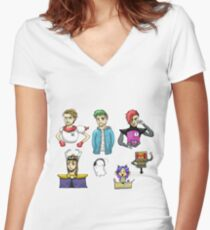 YouTubers as Undertale Characters Women's Fitted V-Neck T-Shirt