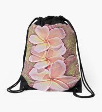 Pinky Plumeria Drawstring Bag
