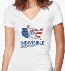 Indivisible: Liberal Anti Trump Movement Women's Fitted V-Neck T-Shirt
