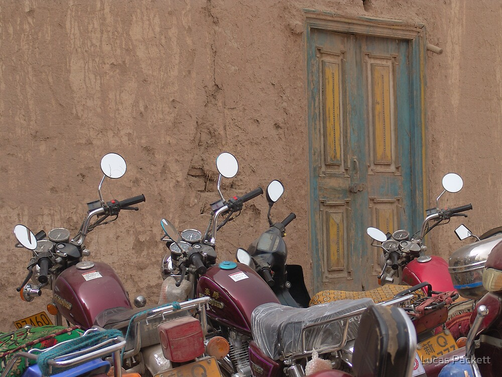 Kashgar, Temple Motorbikes by Lucas Packett