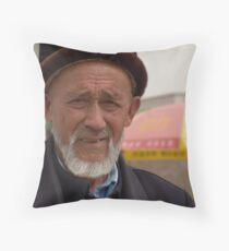 Kashgar, Elderly Uyghur Man Throw Pillow