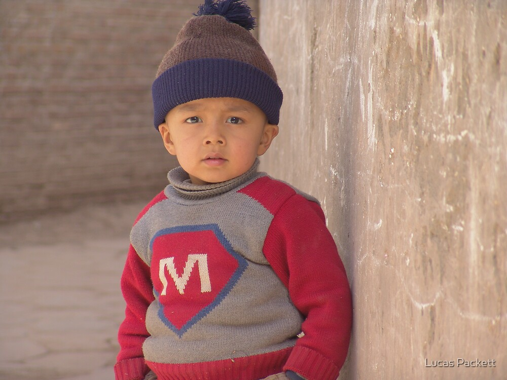 Kashgar, Young Uyghur Boy in Old City by Lucas Packett