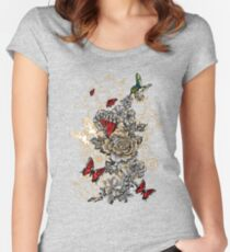 Roses and Butterfly Women's Fitted Scoop T-Shirt