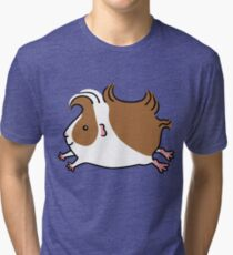 Leaping Guinea-pig ...Brown and White Tri-blend T-Shirt