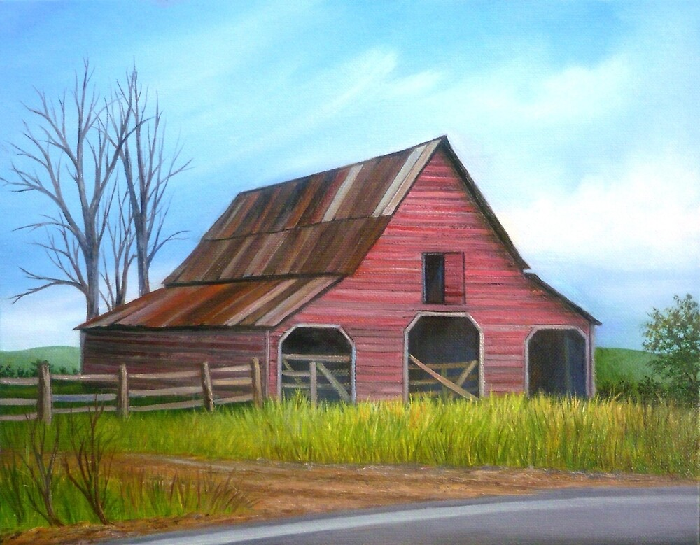 Red Barn in Forsyth County, Georgia - ll by Vivian Eagleson