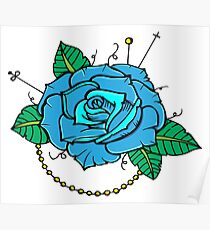 Neo-Traditional Blue Rose Poster