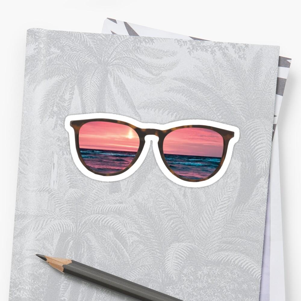 Sonnenbrille Strand Sonnenuntergang Sticker