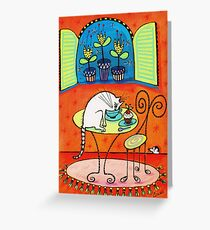 TeaTime for Kitty Greeting Card