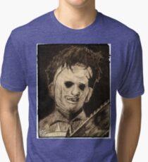 Leather face Horror Portrait  Tri-blend T-Shirt