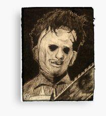 Leather face Horror Portrait  Canvas Print