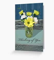 Thinking of You, Flower Arrangement in Glass Jar Greeting Card
