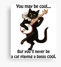 Cat Playing A Banjo Cool Graphic Canvas Print