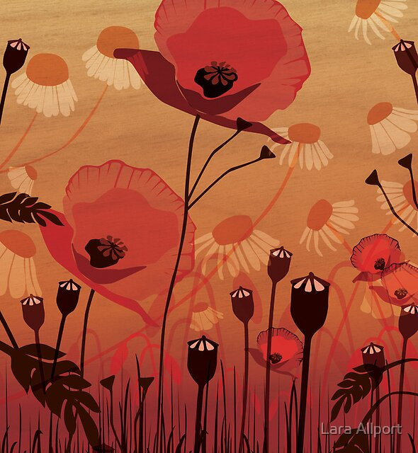 Poppies on woodgrain by Lara Allport