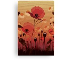 Poppies on woodgrain Canvas Print
