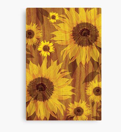 Sunflower on woodgrain Canvas Print