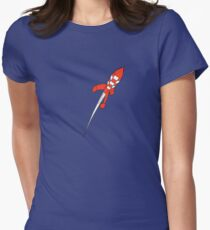 Tintin Destination Moon Rocket Womens Fitted T-Shirt