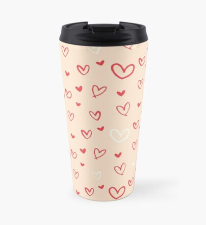 Valentines Day Hearts and Love Pattern Travel Mug