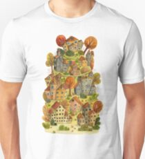Watercolor cartoon houses and trees on mountain. Little fairy village.  T-Shirt