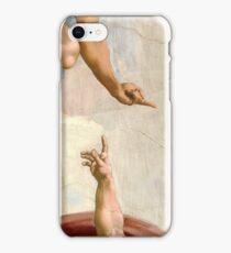 Michelangelo - Creation of Atheist Adam - Close Up - Looking Down on God iPhone Case/Skin