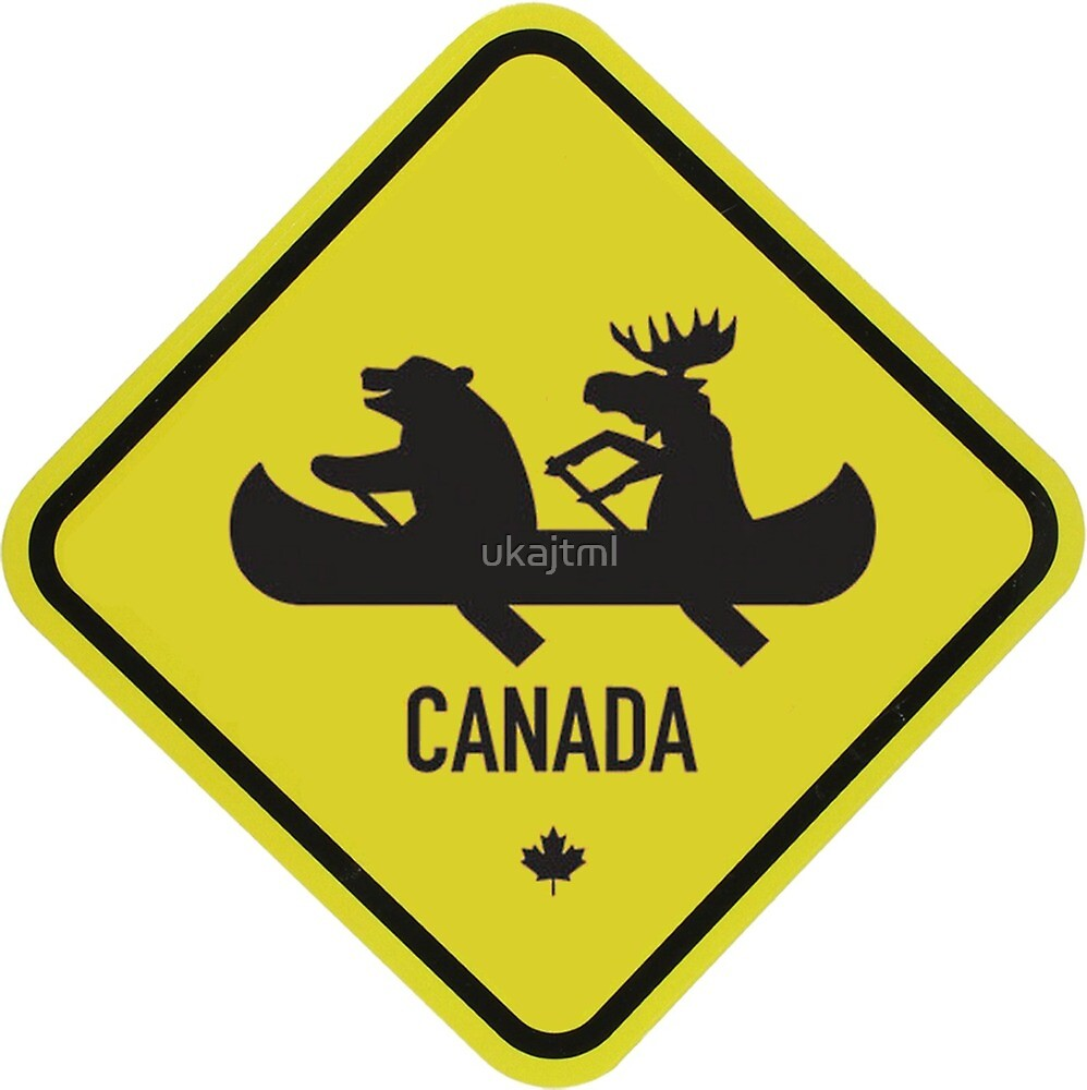 Bear & Moose Novelty Canadian Road Sign by ukajtml