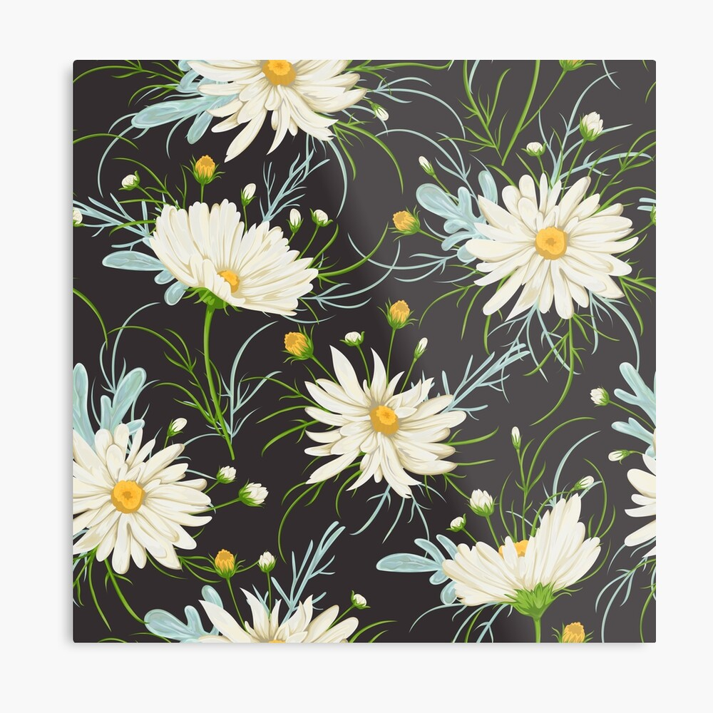 Seamless Pattern With White Chamomile Flowers And Sagebrush