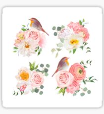 Spring colorful bouquets and cute robin birds vector design objects. Peachy roses, dahlia, carnation, orchid and ranunculus flowers in japanese style. Sticker