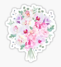 Purple and pink flowers bouquet with peony, rose, hydrangea, bellflower, orchid, eucalyptus on white vector design set. Modern mixed style. All elements are isolated and editable. Sticker
