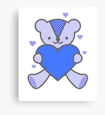 Bear Love Heart Blue Valentine Sweet Couple Gift Canvas Print