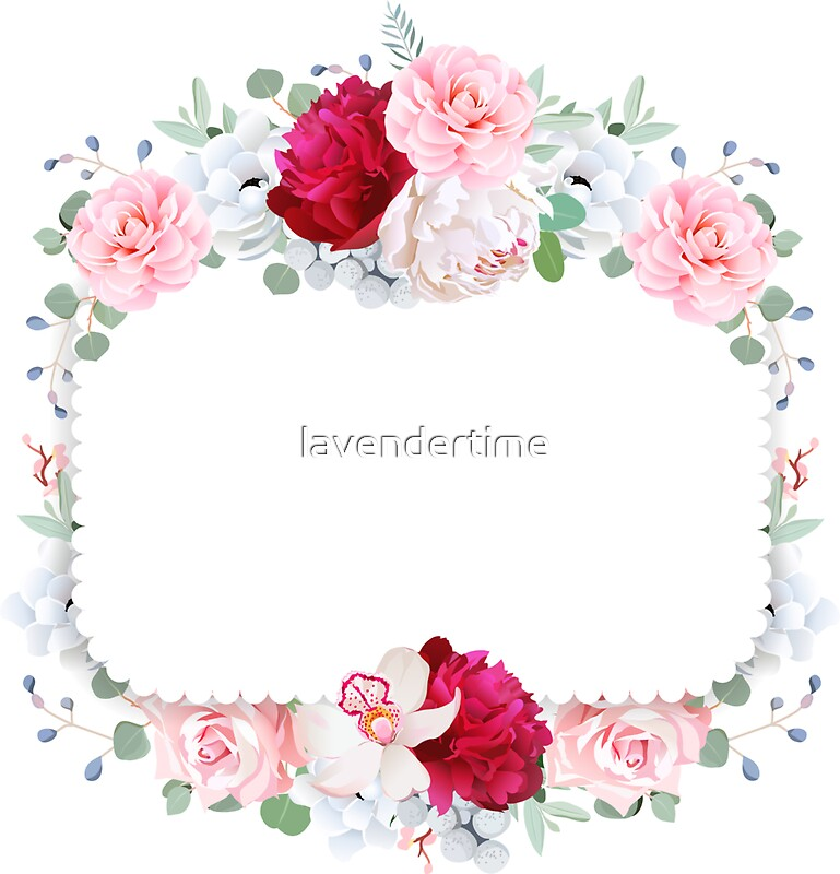 Quot Square Floral Vector Design Frame Orchid Peony Anemone