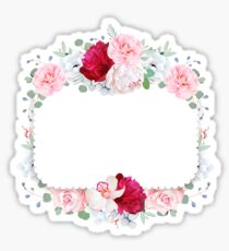 Square floral vector design frame. Orchid, peony, anemone, rose, camellia flowers. Wedding card. Sticker