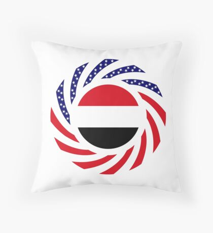 Yemeni American Multinational Patriot Flag Series Throw Pillow