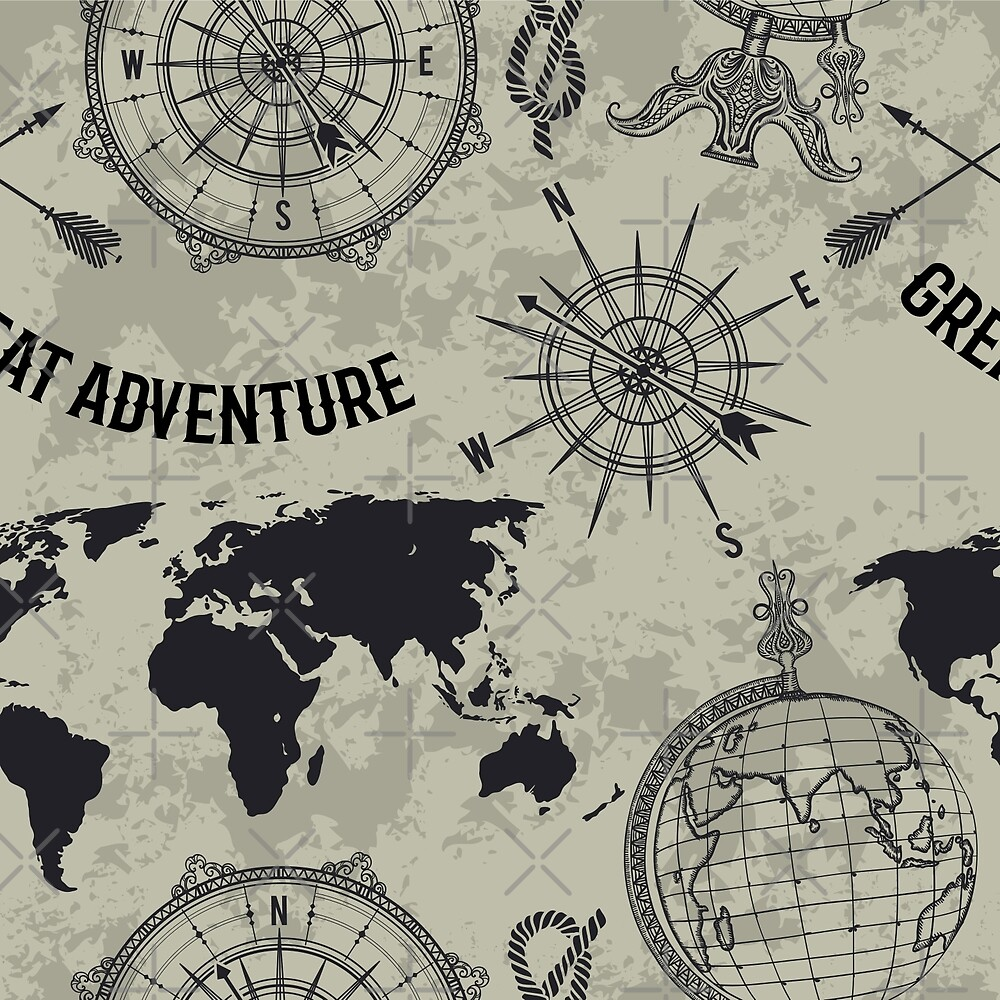 """Seamless pattern with vintage globe, compass, world map and wind rose. Retro hand drawn vector illustration """"Great adventure"""" in sketch style on grunge background by kateja"""