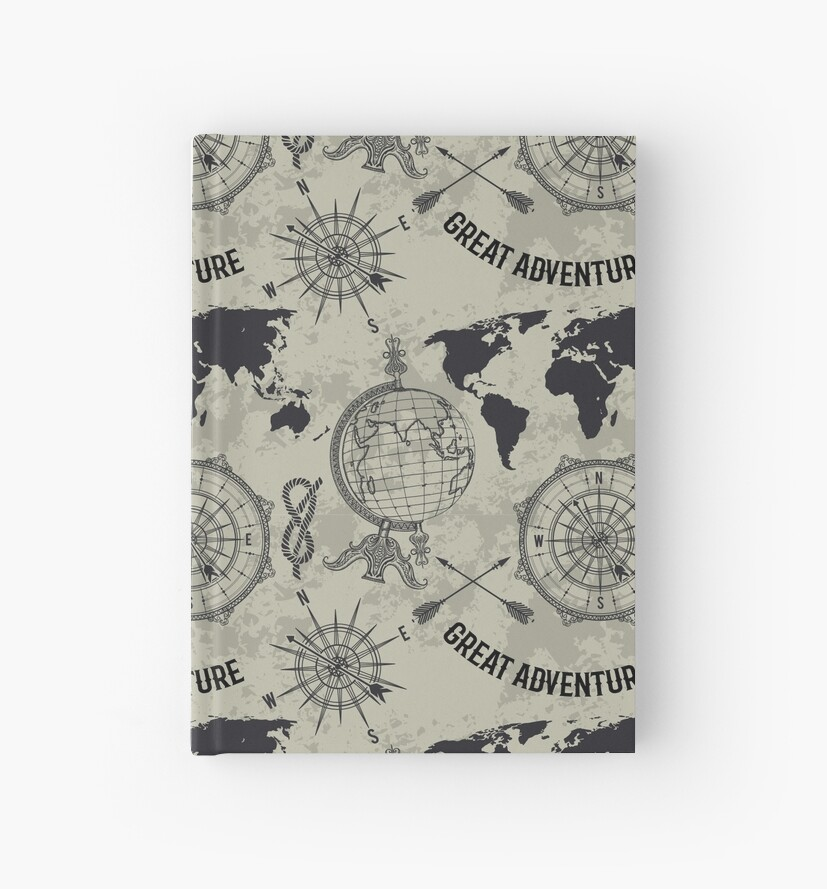 Seamless pattern with vintage globe, compass, world map and wind ...