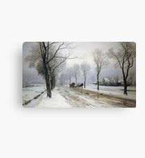 Anders Andersen - Lundby - An Extensive Winter Landscape With A Horse And Cart Canvas Print