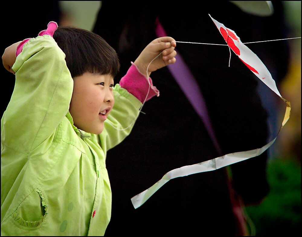 Kite girl 2, Xi'an, China 2006 by John Tozer