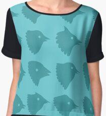 Birds head blue pattern Women's Chiffon Top