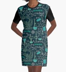 Vintage seamless pattern old chemistry laboratory with microscope, tubes and formulas. Graphic T-Shirt Dress