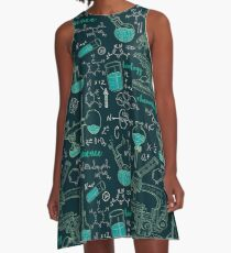 Vintage seamless pattern old chemistry laboratory with microscope, tubes and formulas. A-Line Dress