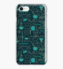 Vintage seamless pattern old chemistry laboratory with microscope, tubes and formulas. iPhone Case/Skin