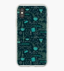 Vintage seamless pattern old chemistry laboratory with microscope, tubes and formulas. iPhone Case