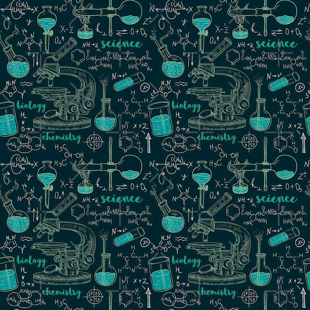 Vintage seamless pattern old chemistry laboratory with microscope, tubes and formulas. by kateja