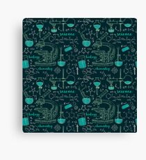 Vintage seamless pattern old chemistry laboratory with microscope, tubes and formulas. Canvas Print
